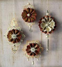 Spellbinder die cut ornaments using  Ironwork Motifs