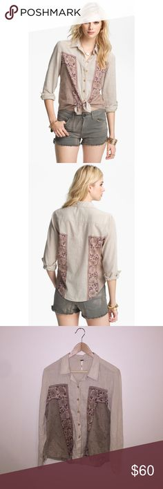 FREE PEOPLE Born Free Panel Shirt Adorable Free People button up with wood buttons (all in tact) and pretty flower details. Gently worn, still in great condition! 🚫 modeling. Free People Tops Button Down Shirts