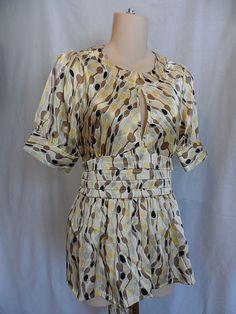 Bcbg max azria geometric silky blouse keyhole front empire waist size