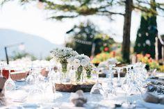 wooden centerpiece wedding flowers baby's breath