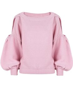 07cbe59abf Celebrity Style Women Cut Out Shoulder Puffy Sleeve Crop Knitted Sweater  Jumper Tops Pullover Knitwear