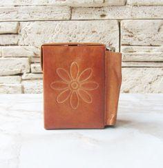 Vintage Cigarette and Lighter Case,Brown leather cigarette case,Poker cards case,French vintage,Cottage chic,Retro cigarette case,Cigarette box