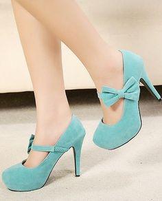 Cute bow high heels shoes