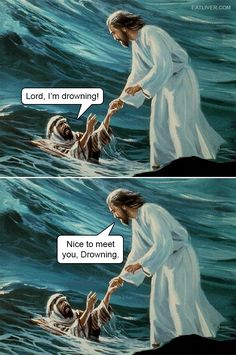 Jesus is no stranger to dad jokes. Funny Jesus Memes, Jesus Jokes, Stupid Funny Memes, Crazy Funny, Humor Religioso, Dad Humor, Dad Jokes, Medieval Memes, Art History Memes