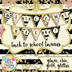 Welcome Back! Back to School Pennant Bunting Banner {Chic & Glam}. Welcome your students to your classroom in style with this fun back to school banner! #tpt #pluckypianista #backtoschool