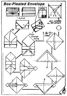 'Origami Box Pleated Envelope' with horizontal bar/ribbon-style catch, via: http://www.origami-resource-center.com/letterfolds.html