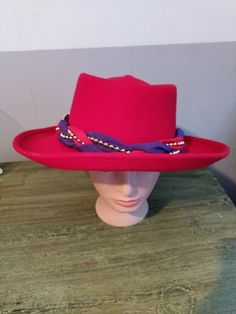 hot sale online 90e98 3ea75 Something Special Red Hat Society Red Wool Wide Brim Womens Hat with box   fashion