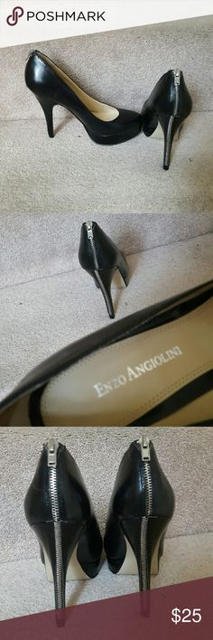 """Enzo Angiolini Platform Heels Size 7 Enzo Angiolini heels, black, zipper detail in back. Worn once. True to size. 5"""" heels,  1"""" platform.  Zipper not totally even on right shoe, not noticeable from eye-to-foot level. Original box included. Enzo Angiolini Shoes Heels"""