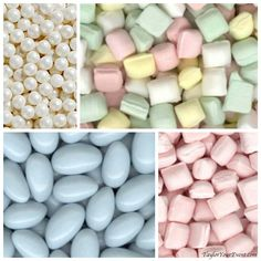 Sweet pearl candy, sweet pastel mints and light blue Jordan Almonds are among pastel-colored candy ideas for weddings at TaylorYourEvent.com. FREE shipping!