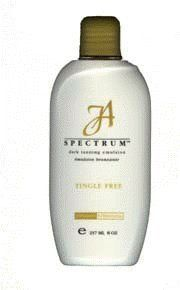 Spectrum Without the Tingle Tan Enhancing Tanning Fluid 8 Oz by John Abate. $23.50. john abate Spectrum 8 oz. By John Abate  Dark Tanning Emulsion Without The Tingle Quickly achieve a rich, deep tan as well as keep your skin looking young and luminous with Spectrum. Suitable for all skin types at any stage of tanning.  Contains Avocado and Babbassu Oils, Aloe Vera, Ginseng, Macadamia Nut & Coconut Oils, Tiare Flower & Natural Vitamin E, plus a rare DNA restorative n...