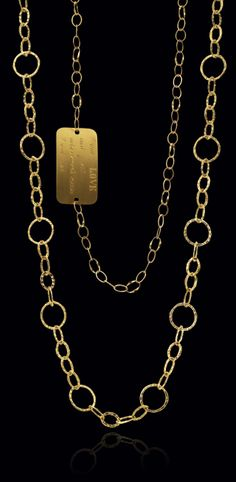 Yellow gold chain necklace with engraving available. Available at www.yanina-co.com, 800-780-3433.