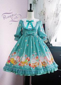Pumpkin Cat Spun Sugar Rabbit Mid Sleeve One Piece Harajuku Fashion, Kawaii Fashion, Lolita Fashion, Japanese Fashion, Asian Fashion, Little Girl Dresses, Girls Dresses, Kawaii Dress, Lolita Cosplay