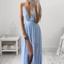 Unique A-line V neck blue chiffon long prom dress, evening dress, simple blue prom dresses for teens V Neck Prom Dresses, Cheap Prom Dresses, Evening Dresses, Prom Gowns, Dress Prom, Maxi Dresses, Long Dresses, Party Dress, Bridesmaid Dresses