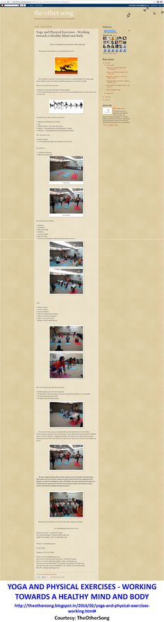 #Yoga and Physical Exercises - Working towards a Healthy Mind and Body