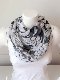 Flower Print White and Black Colour Scarf by BestScarf on Etsy, $19.90