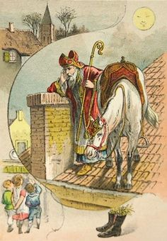 Vannacht is hij weer geweest . St Nicholas Day, Weird Vintage, Saint Nicolas, Postcard Art, Vintage Christmas Cards, Holiday Festival, Vintage Postcards, Medieval, Saints