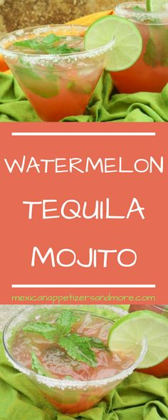 If you love watermelon then this Watermelon Tequila Mojito is for you! A delicious and refreshing drink. For a non alcoholic version, exclude tequila. Watermelon Alcoholic Drinks, Watermelon Tequila, Tequila Drinks, Cocktail Drinks, Good Alcoholic Drinks, Refreshing Drinks, Summer Drinks, Holiday Drinks, Gastronomia