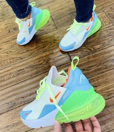 Nike air max 270 white volt blue - Sneaker - Best Shoes World Cute Sneakers, Shoes Sneakers, Kicks Shoes, Tennis Sneakers, Lit Shoes, Nike Tennis Shoes, Women's Shoes, Shoe Boots, Tenis Nike Casual