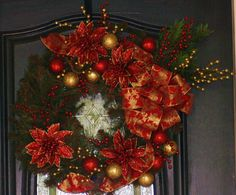 Red Poinsettia Christmas Wreath by hgab129 on Etsy, $75.00