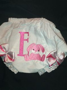 Bunny Inital Easter/everyday Bloomer/diaper by Fancydancyboutique, $10.50