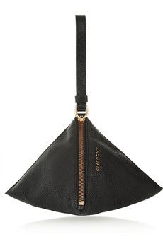 Givenchy Podium wristlet triangle clutch in black textured-leather | NET-A-PORTER