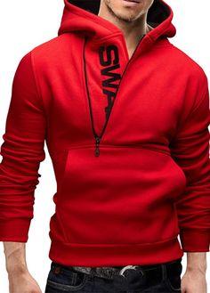 Men's Vogue Fashion Red Block Letter Print Hooded Sweater 1411117200-1  RO  Paris Mart Price GBP  £32.00  Visit Our Ebid Store :  http://pierrette-new-store3.ebid.net/