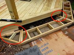 Deck Stairs Onto Patio Deck Steps, Porch Steps, Ground Level Deck, How To Level Ground, Platform Deck, Deck Framing, Patio Stairs, Patio Deck Designs, Patio Ideas
