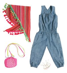 Gandzee Too Twiggy Not to Love 4-Piece Starter Wardrobe for Girls  Channel your daughter's 1960s starlette with this indigo denim romper and accessories. Let her snaz things up with a global scarf, pink purse and handcrafted fiber bracelets with real coral beads. Romper is 100% cotton.   In this Collection: Anthem of Ants, Peppercorn Kids, Little Twin Stars