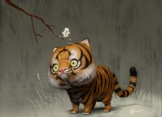 A little love for a tiger, Bobby Chiu on ArtStation at https://www.artstation.com/artwork/5aawW