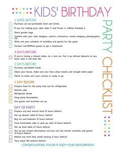 kids bday checklist printable