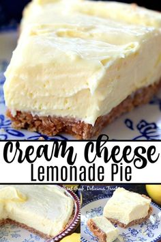 Cream Cheese Lemonade Pie is creamy, tart and full of lemony flavor. This is definitely a refreshing, super delicious, no bake, lemon dessert that can be made in 10 minutes. Source by desserts desserts easy desserts healthy desserts recipes Winter Desserts, Desserts Rafraîchissants, Tolle Desserts, Great Desserts, Refreshing Desserts, Easy Cream Cheese Desserts, Easy Delicious Desserts, Recipes With Cream Cheese, Cheese Pie Recipe