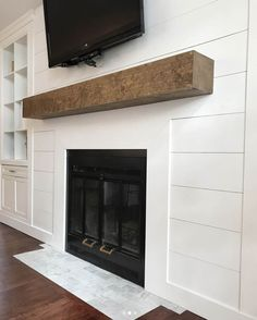 Cozy Ideas for Fireplace -This collection of fireplace mantel ideas is full of warm, cozy decor inspiration for even the chilliest days. This fireplace decor will instantly transform any space. >>> Read more details by clicking on the image. Fireplace Remodel, Shiplap Wall Diy, Fireplace Built Ins, Home, Ship Lap Walls, Farmhouse Fireplace, Diy Shiplap Fireplace, Fireplace Decor, Fireplace