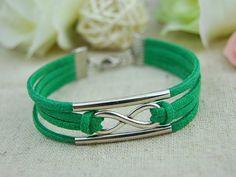 Silver Infinity braceletSimple green leather cord by HandmadeTribe, $2.50 Personalized fashion handmade bracelet,the best gift of friendship.