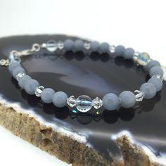 Baby Blue Angelite Gemstone Bracelet with Swarovski Crystals £25.00