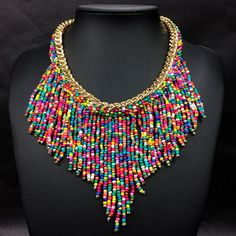 Hand Woven Ladies Fringed Beads Clavicle Chain-Multi color - Ashley Jewels