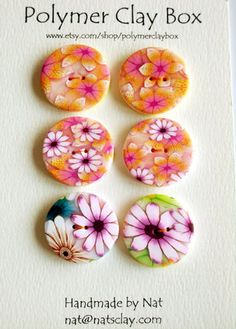 Millifiori polymer clay buttons. $8.00, via Etsy.