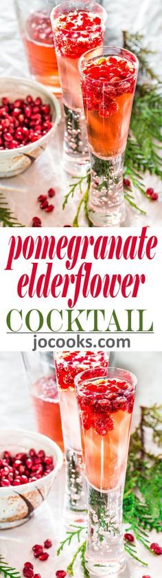 Pomegranate Elderflower Spritzers - A sparkling and refreshing cocktail that's perfect to kick start any holiday celebration or special occasion!