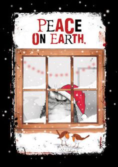 """Peace On Earth"" Christmas Card Art by 'MADOLDCATLADY' on Etsy<3<3<3"