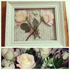 Pressed roses in a frame with scrapbook paper behind them!!! Now they can live forever!!!