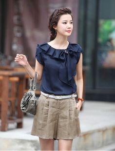 2014  new fashion Women's  autumn/sring  plus size loose short-sleeve o-neck ruffle button chiffon shirt lady's  blouse &shirts US $18.49