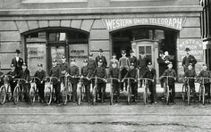 Milwaukee was the first large city in the United States to adopt bicycle delivery of telegrams. This first crew of messenger boys posed in 1891.