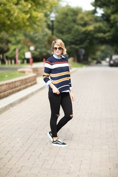 In honor of this INCREDIBLE sale at LOFT, we're going to style this STRIPED SWEATER two ways today on the blog.  Paired with an adorable RED SKIRT or DISTRESSED DENIM
