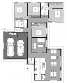 Master Bedroom Plans, 5 Bedroom House Plans, Living Room Floor Plans, Bathroom Floor Plans, Open Plan Kitchen Dining Living, Modern House Floor Plans, Bungalow House Design, Floor Layout, Apartment Layout