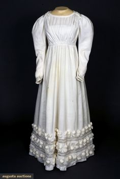 Augusta Auctions, November, 2007 -Tasha Tudor Historic Costume Collection, Lot 51: White Cotton Dress With Hem Puffs, 1830s