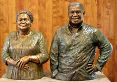 Mr and Mrs Shongwe commissioned these portrait busts to be placed at the entrance to their home. They are both life size portraits, 2016. www.sarahrichards.co.za  #africanart  #bronzebust