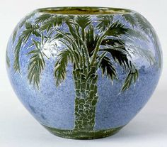 Newcomb College - Selina Elizabeth Bres. Pottery Jardiniere with Palm Trees. New Orleans, Louisiana.