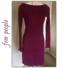"""♣️ Free people basic bodycon long sleeve dress This is a perfect winter /spring Free People long sleeve body con dress. It is a beautiful maroon color and made of 100% cotton. Size extra small. But will also fit a small. Bust 30"""" waist 28"""" length 34"""". No flaws. Mint condition.  All items are from a clean, smoke free home  Please use the offer button... We will not answer ? on price in the comments.   Trades  Modeling Free People Dresses Midi"""