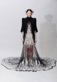 black couture wedding dress