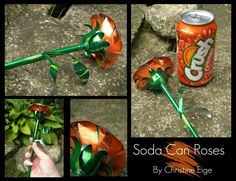 The idea behind my artwork is sustainability. reduce, reuse, and recycle. The less we have in the landfills, the better! All of my artwork is make fr. Soda Can Rose - Orange Full Aluminum Can Flowers, Aluminum Can Crafts, Metal Crafts, Soda Can Flowers, Tin Flowers, Pop Can Crafts, Kids Crafts, Pop Can Art, Recycle Cans