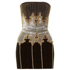 Balmain Bead-embellished velvet bandeau dress ($3,669) ❤ liked on Polyvore featuring dresses, black multi, sequin cocktail dresses, silver cocktail dress, short sequin cocktail dresses, sequin dresses and beaded cocktail dress